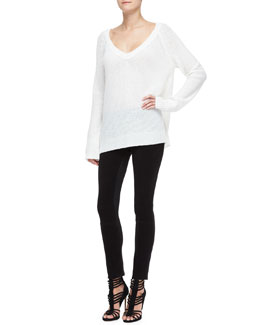 Donna Karan Easy Cashmere-Blend V-Neck Top & Structured Jersey Legging Pants