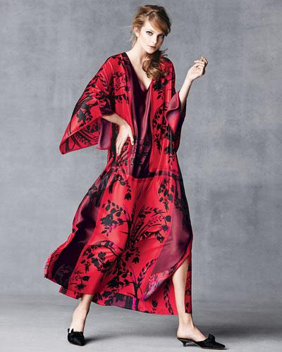 Natori Alexandra Floral-Print Satin Caftan, Russian Red