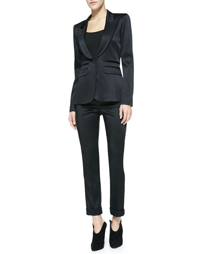 Smythe Peaked-Lapel Satin Blazer & Cropped Satin Cigarette Pants