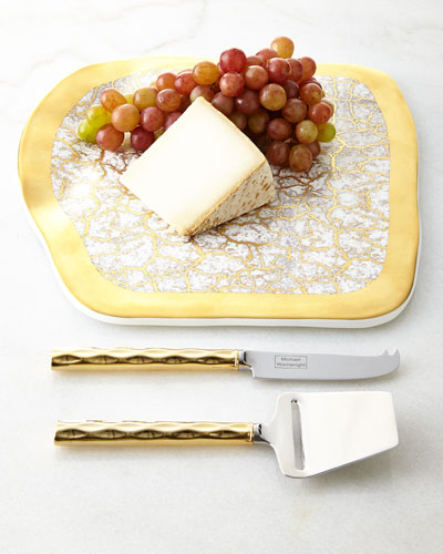 Tempio Luna Gold Cheese Tray & Truro Cheese Shaver & Knife