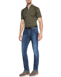 Alexander McQueen Harness Cotton Polo & Stone-Wash Stretch-Denim Jeans