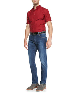 Alexander McQueen Short-Sleeve Poplin Shirt & Stone-Wash Stretch-Denim Jeans