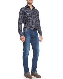 Alexander McQueen Check Button-Down Shirt & Stone-Wash Stretch-Denim Jeans