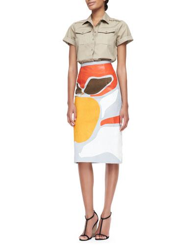 Burberry Prorsum Washed Cotton Safari Shirt & Book Cover-Printed Pencil Skirt