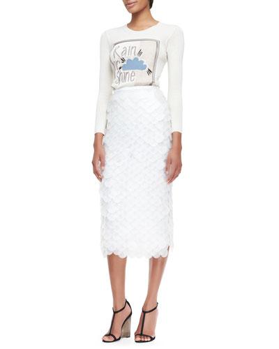Burberry Prorsum Rain or Shine Graphic Knit Top & Oversize Sequin Pencil Skirt