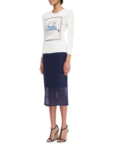 Rain or Shine Graphic Knit Top & Petal Pencil Skirt