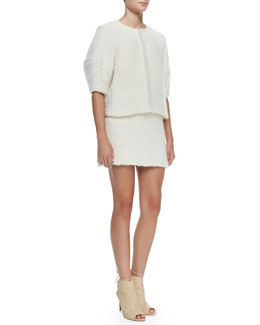 Alice + Olivia Dani Cropped Box Jacket with Seamed Sleeves & Neville Clean Fitted Miniskirt