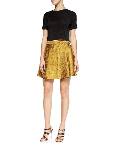 Alice + Olivia Short-Sleeve Crewneck Crop Top & Vernon Metallic Jacquard Pleated Skirt