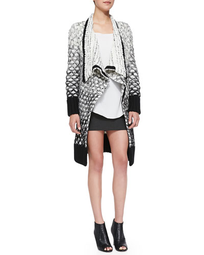 Alice + Olivia Mixed-Knit Chunky Draped Cardigan, Lucy Sleeveless Silk Trapeze Top & Neville Clean Suiting Miniskirt