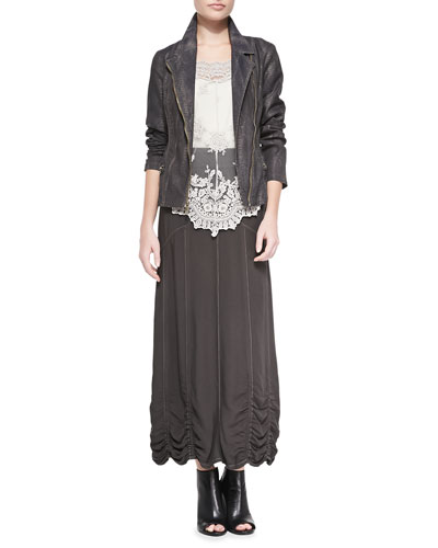Norton Snakeskin-Print Moto Jacket, Supima® Cotton Basic Tank Top,  Pierrette Biltmore Lace Top & Alva Twill Maxi Skirt