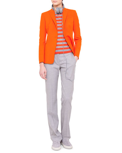 Akris punto One-Button Jacket, Striped Sweater & Faubourg Straight-Leg Pants