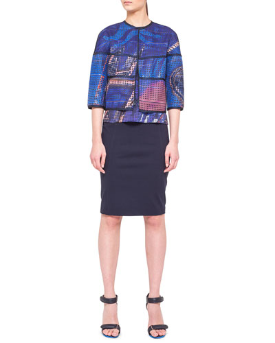 Akris punto Reversible Printed Jacket, Graffiti Silk Tank & Jersey Pencil Skirt with Faux-Leather Trim