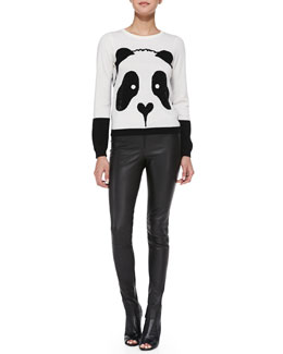 Alice + Olivia Crewneck Rhinestone Panda Sweater & Leather Leggings