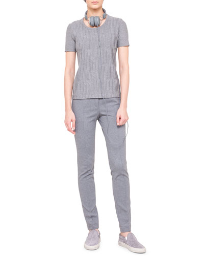 Akris punto Plisse-Front Short-Sleeve Tee & Mara Knit Leggings