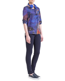 Akris punto Tab-Sleeve Graffiti-Print Blouse & Skinny Techno-Stretch Jeans