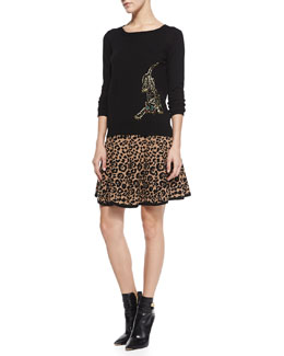 Milly Knit Beaded-Cheetah Pullover & Cheetah-Jacquard Flared Skirt