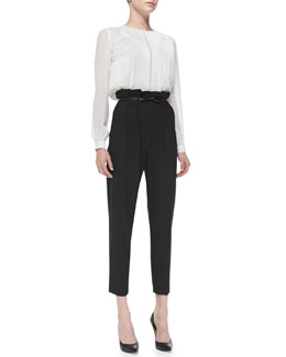 Milly Pintucked Chiffon Blouse & Paperbag Cropped Pleated Trousers