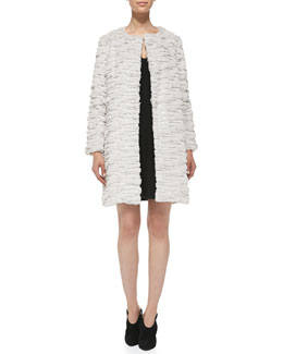 Milly Faux-Fur Long Coat & Ribbed-Knit V-Neck Dress