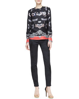 Versace Collection Dragonfly Printed Silk Top and Slim Zip-Detail Pants