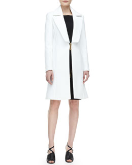 Versace Collection Wide-Lapel Metal-Close Coat and Asymmetric-Zip Belted Dress