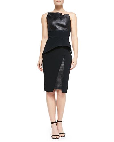 Roland Mouret Lacquered Herringbone and Agonum Top & Asymmetric Insert-Detail Pencil Skirt
