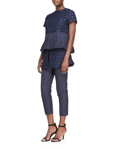 Suno Short-Sleeve Pleated Peplum Top & Cropped Wrap-Skirted Trousers
