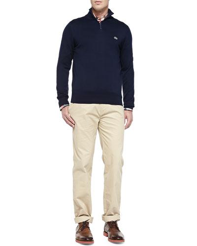 Half-Zip Knit Sweater, Plaid Button-Down Shirt & Slim Gabardine Chino Pants
