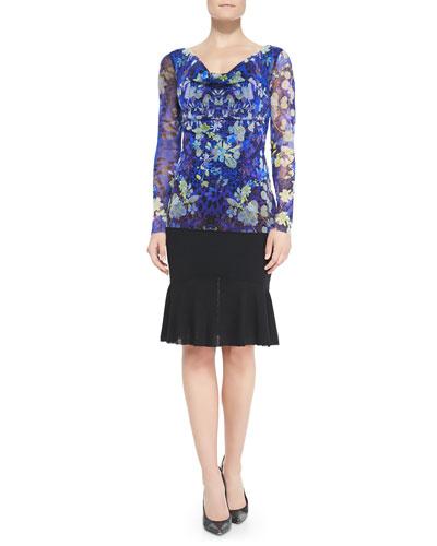 Fuzzi Long-Sleeve Floral Lace-Print Top & Flared-Hem Skirt