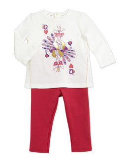 Little Marc Jacobs Peacock-Print Tee & Ruffle-Trim Pants