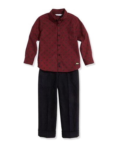 Little Marc Jacobs Boys' Tiger-Print Woven Shirt & Pinstripe Suit Pants