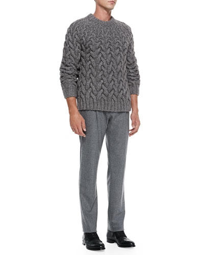 Michael Kors  Chunky Cable-Knit Sweater & Felt Pleat-Front Trousers