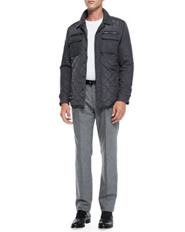 Michael Kors  Quilted Shirt-Jacket & Felt Pleat-Front Trousers