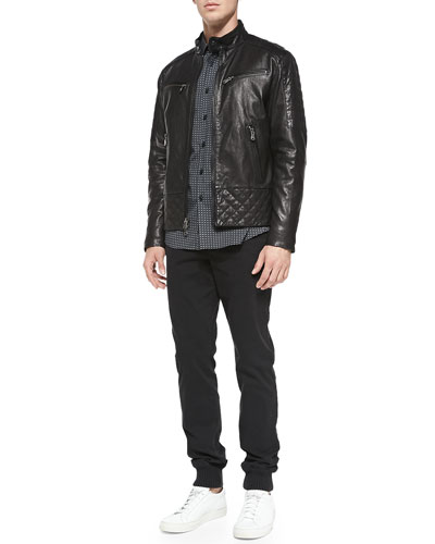 Michael Kors  Quilted Washed Leather Jacket, Square-Check Shirt & Rib-Cuff Trousers