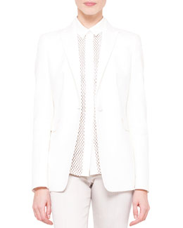 Akris punto One-Button Half-Lined Jacket & Long-Sleeve Embroidered-Front Blouse