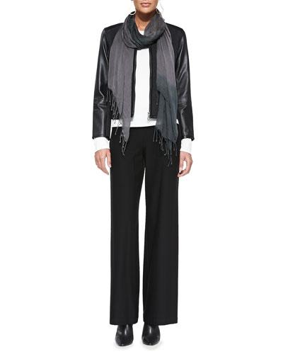 5B48 Eileen Fisher Leather-Trim Merino Short Zip Jacket, Long-Sleeve