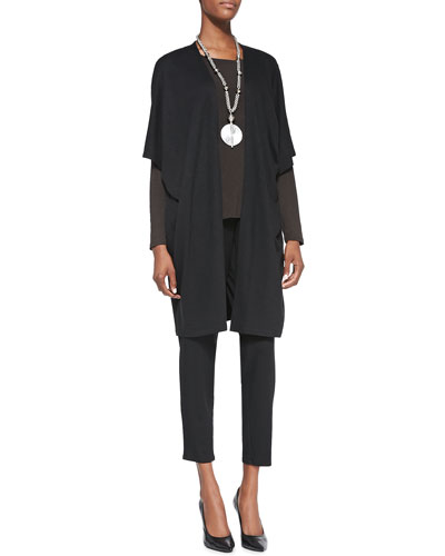 Eileen Fisher Aegean Long Kimono Jacket, Long-Sleeve Slim Jersey Tee & Slouchy Tapered Pants