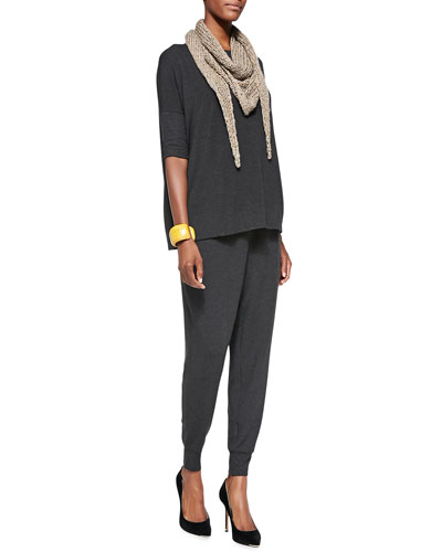 Eileen Fisher Cozy Half-Sleeve Boxy Top, Cozy Slouchy Pants & Fuzzy Fine Open Twist Scarf