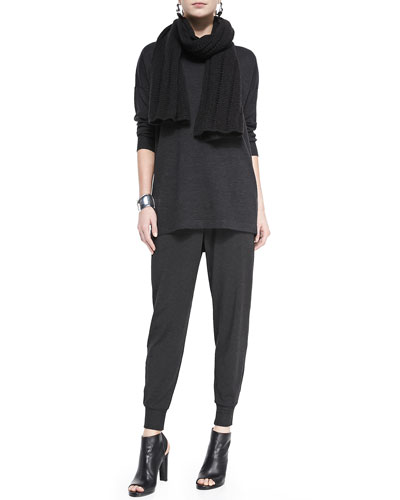 Eileen Fisher Merino Jersey Long Tunic, Cozy Slouchy Pants & Super-Soft Yak/Merino Accessories