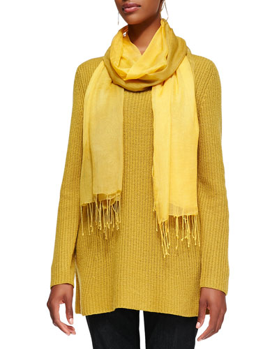 Eileen Fisher Super-Soft V-Neck Tunic & Shibori Tissue Modal Scarf
