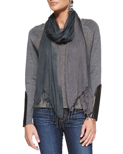 Eileen Fisher Super-Soft Knit Top with Leather Patches & Shibori Tissue Modal Scarf, Petite