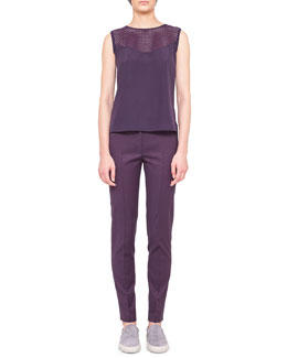 Akris punto Silk Tank with Embroidered Inset & Jacquard Fabia Pants with Belt Loops