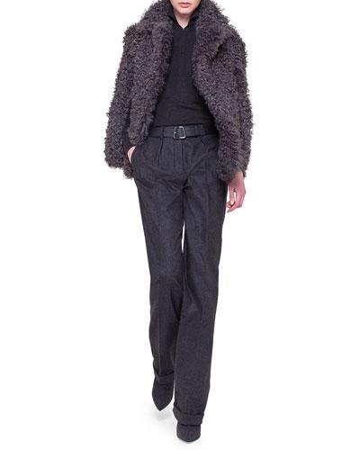 Akris Kalgan Lamb Shearling Cape, Mock-Neck Zip-Front Top & Fabian Flannel Straight-Leg Pants