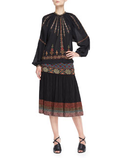 Etro Embroidered/Beaded Pleasant Blouse and Skirt