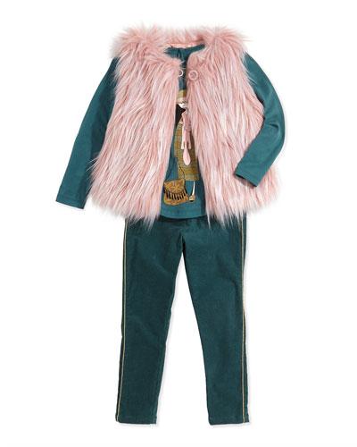 Little Marc Jacobs Girls' Faux-Fur Vest, Miss Marc Printed Tee & Corduroy Pants