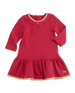 Little Marc Jacobs Girls' Milano Shimmer Trimmed Flounce Dress, Red