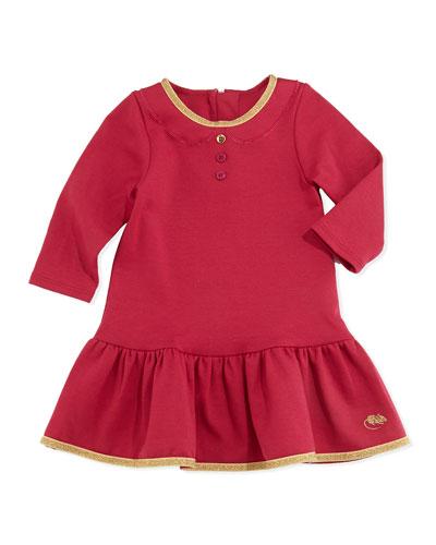 Little Marc Jacobs Girls' Milano Shimmer Trimmed Flounce Dress, Red