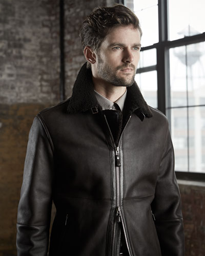 Ermenegildo Zegna Lamb Leather Jacket with Shearling, Woven Button-Down Shirt & Wool-Flannel 5-Pocket Trousers