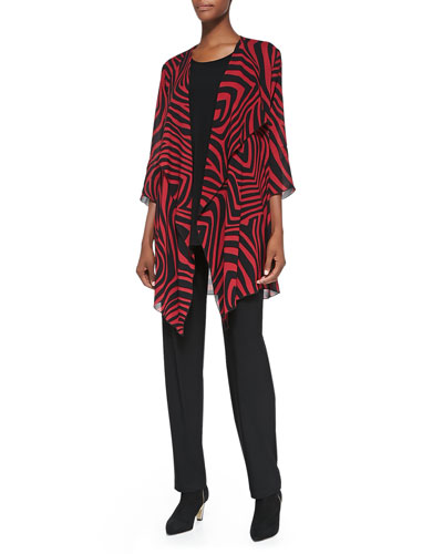 Caroline Rose Red Zone Zebra-Print Jacket, Knit Tunic/Tank