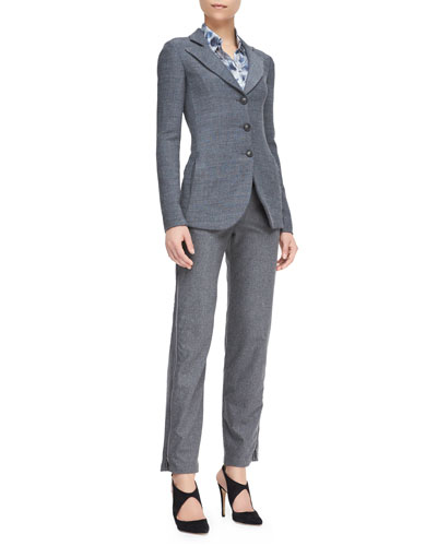 Armani Collezioni Melange Three-Button Jacket, Abstract-Print Long-Sleeve Blouse & Flannel Side Zip-Detail Pants