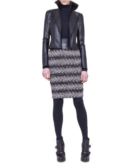 Akris punto Faux-Leather and Jersey Moto Jacket, Mock-Neck Top & Jersey Jacquard Tweed Skirt